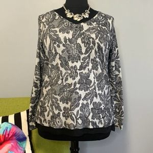 Lane Bryant Grey Black Faux Lace Sweater 18/20
